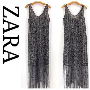 💕SALE💕 Zara Trafaluic Black White Fringe Coverup